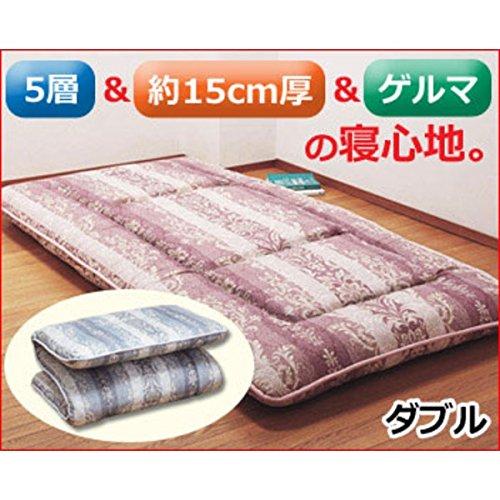 【ダブルサイズ】 ダブル ピンク系 ダブル ピンク系 B07BFR5ZZS ゲルマニウム不織布入 ゲルマニウム5層健康敷布団 ピンク系 日本製