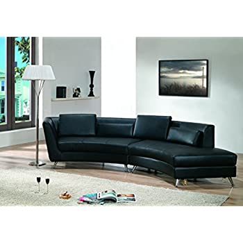 Modern Line Furniture 8004B-G9 Contemporary Leather Curved Open-Chaise Sectional Sofa for Restaurant/Bar/Nightclub/Hospitality Furniture, Black (Pack of 2)