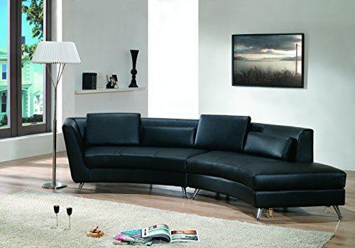 Modern Line Furniture 8004B-G9 Contemporary Leather Curve...