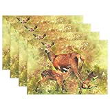 JTMOVING Fawn Deer Twins Living Nature Animals Cute Nature Placemats Set Of 4 Heat Insulation Stain Resistant For Dining Table Durable Non-slip Kitchen Table Place Mats