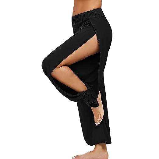 a90d64ba63ba7 Sameno Women s Solid Fashion Split Fitness Elastic Sports Trousers Casual  Palazzo High Waist Pants Gym Yoga