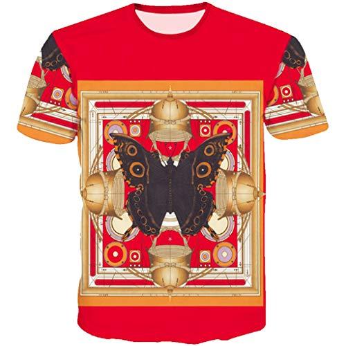 OrchidAmor 2019 Men's Funny 3D Printing Fitness Elastic Short Sleeve T-Shirt Top Blouse Red