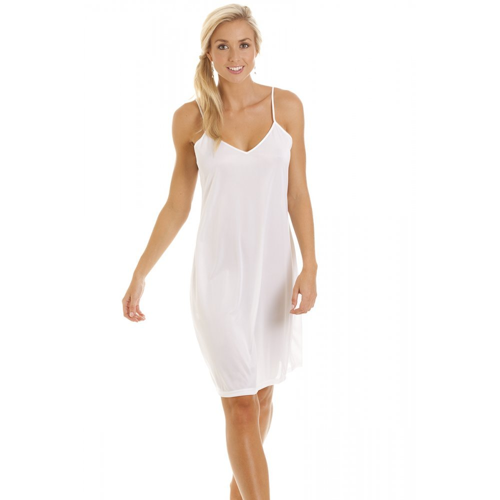 Camille Womens Ladies White Nightwear Chemise Full Slip