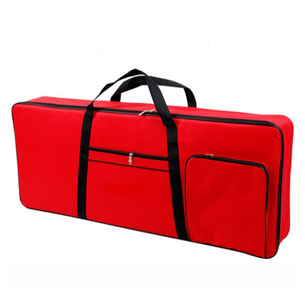 61 Key Keyboard Case Durable 600D Oxford Cloth Electric Keyboard Gig Bag Waterproof Adjustable and Portable Backpack Straps with 10mm Padding Shockproof DZQ001 (red) TUYUU