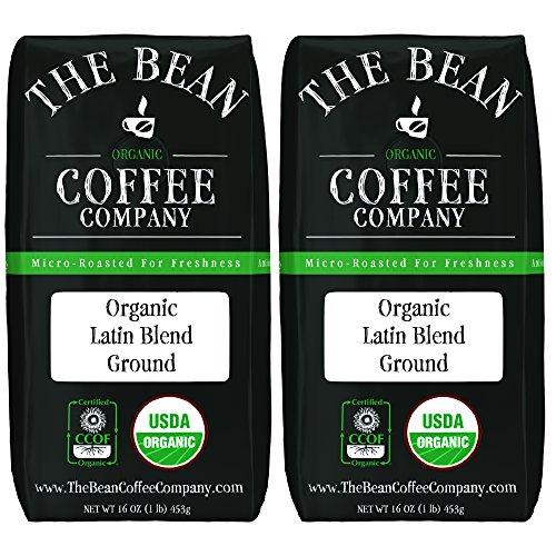 The Bean Coffee Company Organic Latin Blend, Medium Roast, Ground, 16-Ounce Bags (Pack of 2)