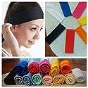 Cosmos Stretchy Cotton Yoga Sport Headband, Assorted Dark Colors, 5 pack