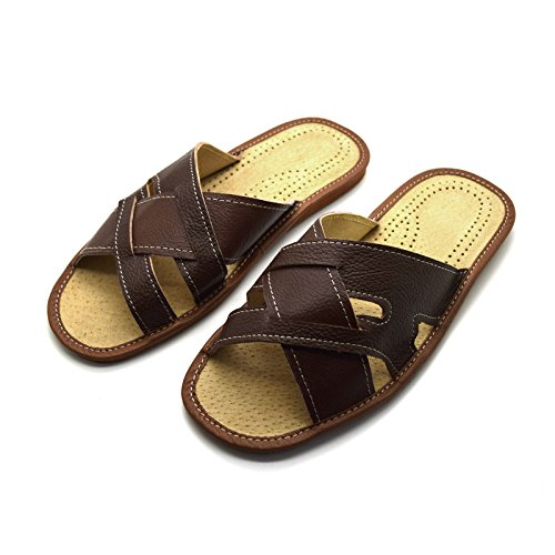 Size Slip UK Shoes Brown 12 11 Mules 8 Mens Slippers 9 Sandals On Leather 6 7 10 Light XqwxfUHE