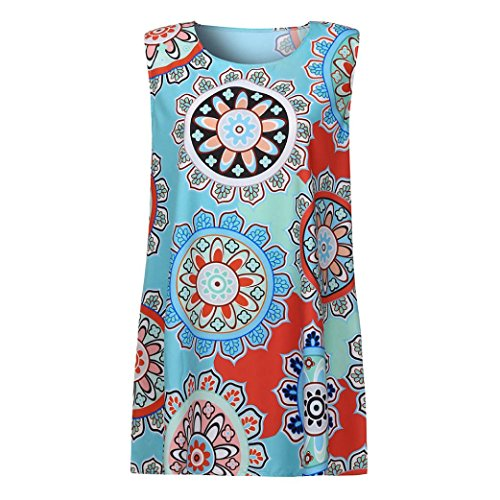 Cuello la Vendimia de del Azul Verano Mujeres Sin Redondo de Mangas Impresión OverDose vestidos F las qaXp5p