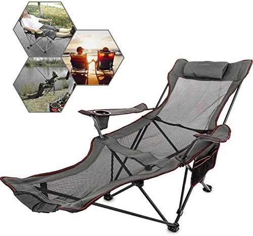 Folding Camp Chair with Gray Footrest, Mesh Lounge Chair with Cup Holder and Storage Bag, Reclining Folding Camp Chair for Camping Fishing and Other Outdoor Activities