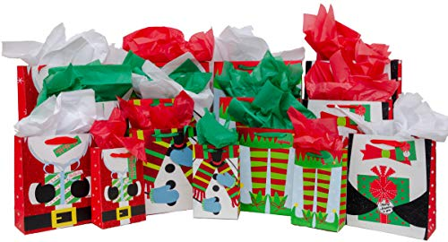 - Christmas Gift Bag Variety Pack (60 Pieces) - 15 High Quality Gift Bags Various Sizes - 15 Sheets of Each Green, Red, and White Tissue Paper - iDeal Brandz (Santa)
