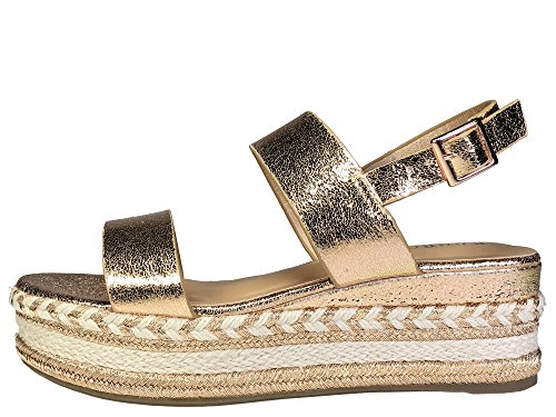 BAMBOO Women's Single Band Espadrilles Platform Sandal with Ankle Strap, Rose Gold, 8.0 B (M) US