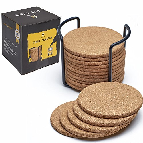 "Natural Cork Coasters With Round Edge 4"" 16pc Set with Metal Holder Storage Caddy – 1/5"" Thick, Absorbent, Eco-Friendly, Heat-Resistant, Reusable Saucers for Cold Drinks, Wine Glasses, Cups & Mugs"