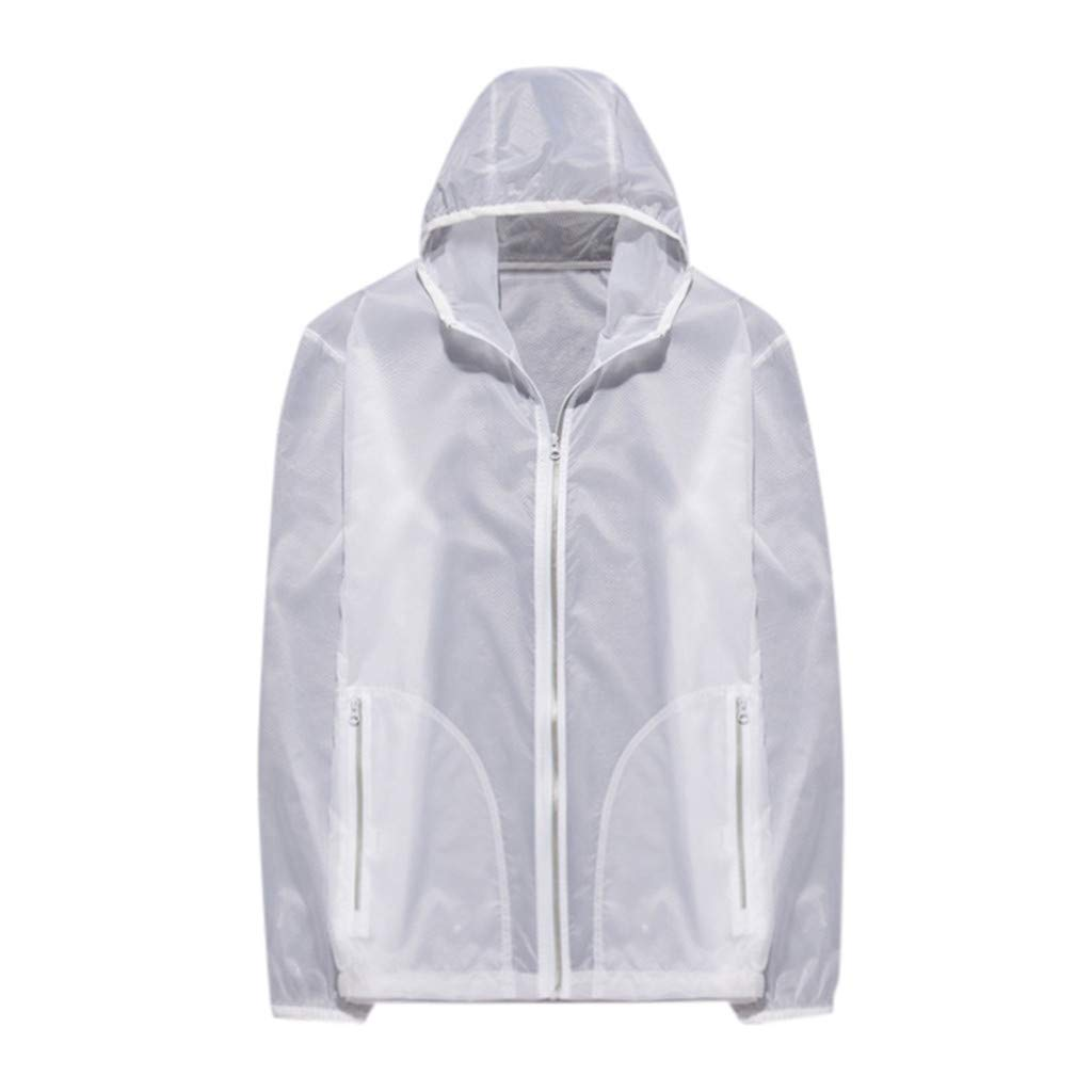 Tomppy Windbreaker Coats for Women Men UV Protection Ultra-Light Rainproof Jackets Hoodied Skin Coat Cycling Tops White by Tomppy