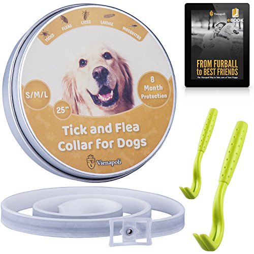 Adjustable Flea and Tick Collar by Vienapoli for Small, Medium and Large Dogs + Tick Remover (2-Pack) + eBook on Dog Necessities