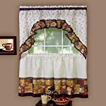 Achim Coffee - Printed Tier Curtain and Swag Set