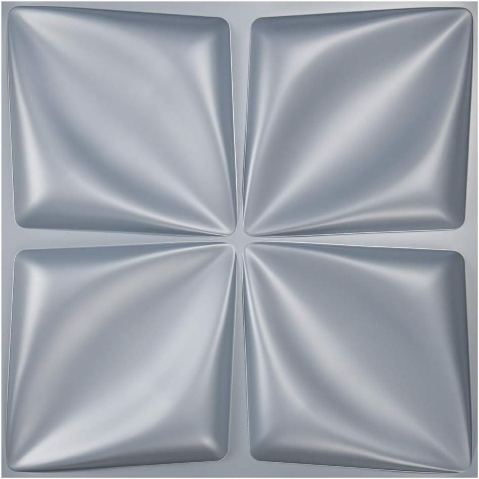 Art3d Matt Grey Silver 3D Wall Panel PVC Flower Design Cover 32 Sqft, for Interior Wall Décor in Living Room,Bedroom,Lobby,Office,Shopping Mall
