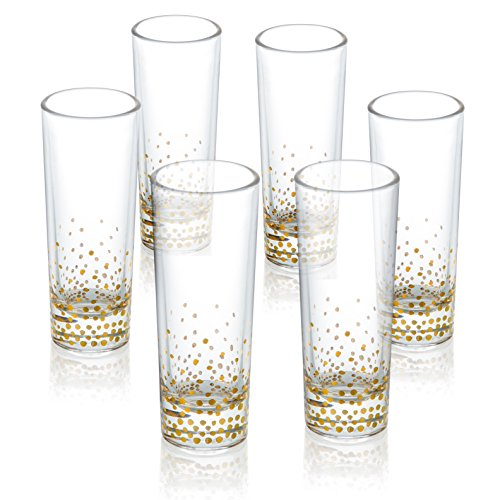 Fitz And Floyd Luster Gold Whiskey Shot Glasses Set of 6 - Tall Shot Glass Set
