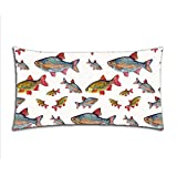 Kichtime Fashion Zippered Pillow Case Fish School Pillow Cover 20X36 Twin Sides