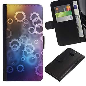 KingStore / Leather Etui en cuir / HTC One M8 / Neon Círculo Burbuja Patrón