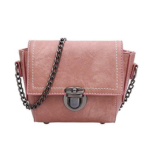 Meaeo Bolso Solo De Pink Hombro De Brown Plaza Pequeña Mujer Bolso Sesgados Bolso Nueva Bolsa De r5q5BAEdw