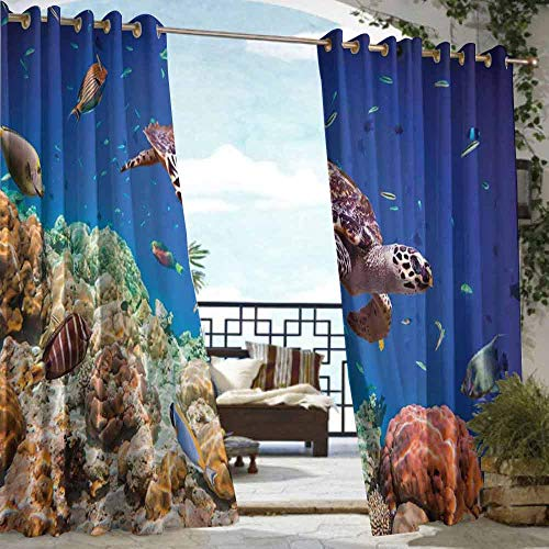 DILITECK Outdoor Curtain Ocean Lonely Old Tropical Sea Turtle Swimming Shoal Sea Sponges Maldives Image Waterproof Patio Door Panel W108 xL72 Navy Blue Tan and Brown