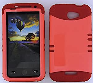 SHOCKPROOF HYBRID CELL PHONE COVER PROTECTOR FACEPLATE HARD CASE AND RED SKIN WITH STYLUS PEN. KOOL KASE ROCKER FOR HTC ONE X S720E PEARL ORANGE RD-A022-AF