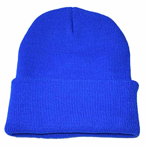 (iLXHD Warm Chunky Soft Stretch Cable Knit Beanie Skully Thick Soft Warm Winter Hat Caps Unisex Blue)
