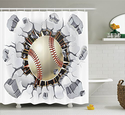 Baseball Illustrations (Ambesonne Sports Decor Shower Curtain Set, Baseball and Old Plaster Concrete Wall Damage Illustration Competition, Bathroom Accessories, 69W X 70L inches)