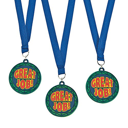 Fun Express - Great Job Eva Rubber Medal/ribbonS-1dz - Stationery - Awards - Medals - 12 Pieces