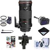 Canon EF 180mm f/3.5L Macro USM AF Lens Kit, USA - Bundle with 72mm Filter Kit, Lens Cap Leash, Lens Cleaning Kit, 4-Way Focusing Rail Fine Control, Lens Wrap, DSLR Follow Focus & Rack Focus