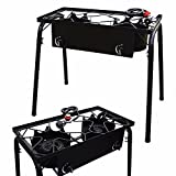 KCHEX>Propane Stove 2 Burner Gas Outdoor Portable Camping BBQ high Pressure Regulator>This Two-Burner Cast Iron Stove with Stand Combo Features Two high Efficiency cast Iron Burners.