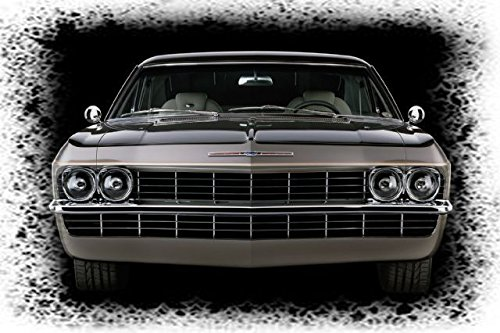 1965 Chevrolet Impala Hardtop Front End Star background Picture on Mouse Pad mousepad Classic Vintage Old Cars Hot Rods Speed Computer Desktop (Impala Hardtop)