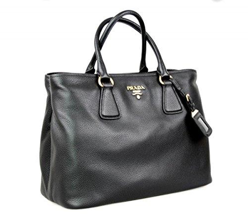 Prada Women's 1BA794 UWL F0002 Black Leather Shoulder Bag