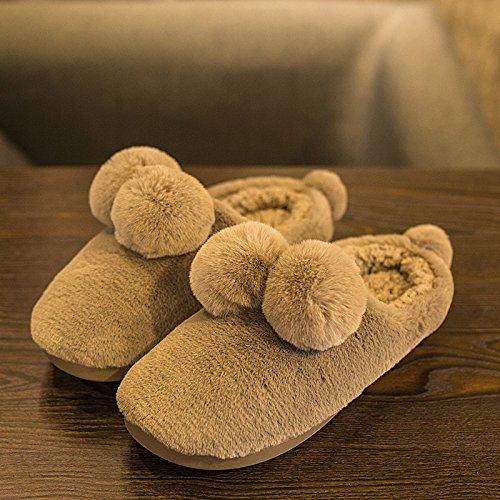 LaxBa Femmes Hommes Chaussures Slipper antiglisse intérieur Brown 41/42
