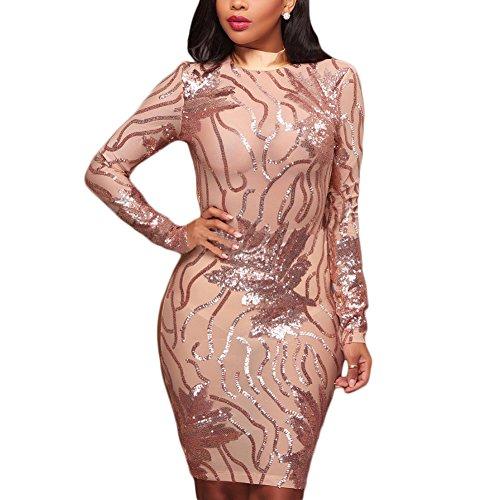 Club Costume Dress - Joseph Costume Women's Sexy Sequins Sheer Mesh See Through Patchwork Bodycon Mini Short Dress Clubwear Gold XL
