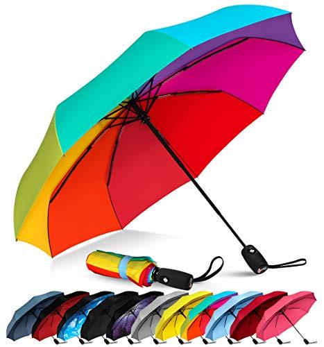Repel Windproof Travel Umbrella with Teflon Coating (Rainbow) (Umbrellas Windproof)