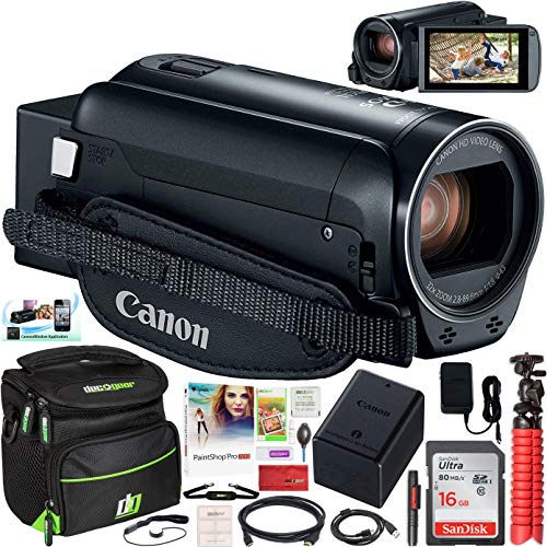 Canon VIXIA HF R800 Camcorder with 57x Advanced Zoom 3.28MP Black Bundle with 16GB Memory Card, Camera Bag for DSLR and Mirrorless Cameras and Paintshop Pro 2018 Digital Download
