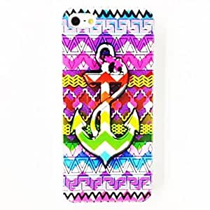 Punk Colored Strip Anchor Pattern Polycarbonate Hard Case for iPhone 4/4S , Multicolor