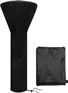 Patio Heater Cover Waterproof with Zipper, Standup Outdoor Round Heater Covers fits Most Standard Patio heaters (89'' H x 33'' D x 19'' B) (Black)