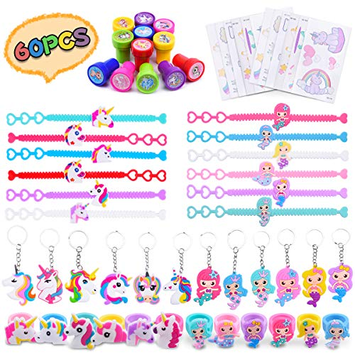 LEEHUR Unicorn Mermaid Party Favors Supplies for Kid 60pcs Bracelet Ring Keychain Tattoo Stamper Girl Boy Reward Prizes Birthday Souvenirs...