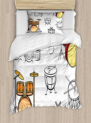 Lunarable Drums Duvet Cover Set Twin Size, Trap Set Ethnic Western Eastern Bongo Timpani Folk Artistic Rock Pop Modern Image, Decorative 2 Piece Bedding Set with 1 Pillow Sham, Brown Red