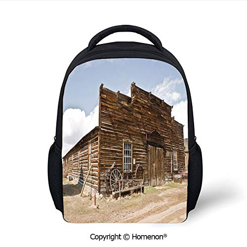 3D Abandoned Mercantile with Wagon Wheels Ghost Town Decorative Printing Children School Bags Campus Student Bookbags,(12.2