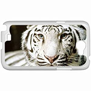 Custom Fashion Design Samsung Galaxy NOTE 2 SII Back Cover Case Personalized Customized Samsung Note 2 Diy Gifts In Albino tiger White