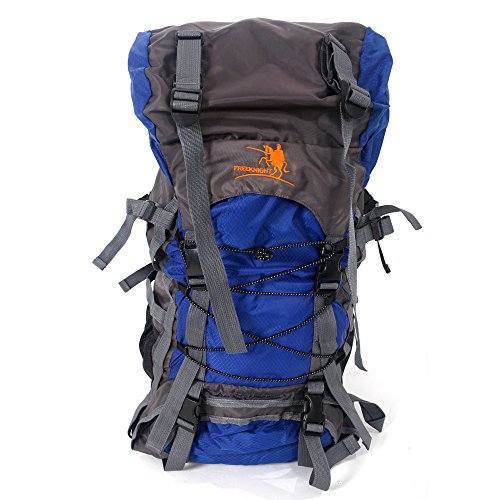 Crazyworld 55L Blue Packable Travel Backpack for Camping & Hiking