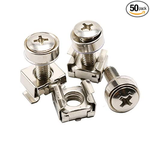Pack 50 HZ Ltd M5x16mm Mounting Screws M5 Washers M5 Cage Nut Assortment Kit for Server Rack and Cabinet