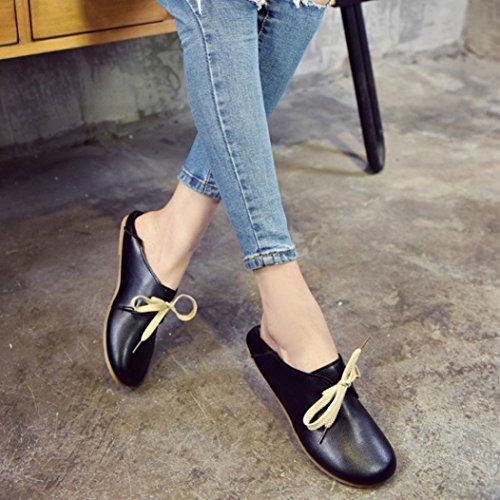 Sikye Femmes En Cuir Appartements Mesdames Confortable Ballet Chaussures Chaussures De Bateau Décontracté Souple En Caoutchouc Noir