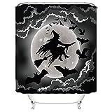Gwein Halloween Night Theme Flying Witch Happy Halloween Decorative Bathroom Mildew Resistant Fabric Shower Curtain Waterproof Antibacterial Shower Room Decor Shower Curtains 72 x 72