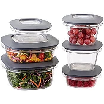 Rubbermaid Premier Easy Find Lids Meal Prep and Food Storage Containers, Set of 6 (12 Pieces Total), Grey |BPA-Free & Stain Resistant