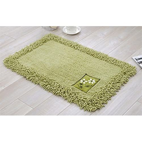 JSJ_CHENG Rectangular Embroidered Chenile Cotton Bathroom Area Rugs and Mats (17.7inch by 27.5inch, green) hot sale