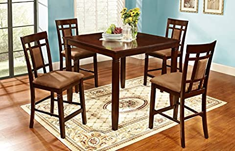 Home Source 50902120 5-Piece Brooklyn Collection Asian Hardwood Counter Height Dining Set, 36 by 42 by 42-Inch, Dark - Pub Table Dinette